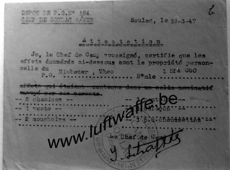 F-33780 Soulac. Attestation 1947 (WL177)
